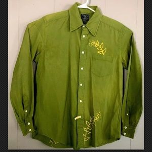 Lucky Brand Mens Button Front Green Yellow Leaves